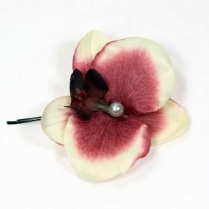 AB-140 Haarblüte Orchidee mit Perle, 9 cm_a